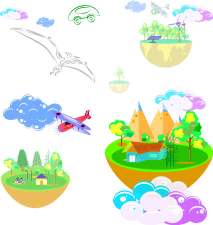 business home and the world in imagination, vector art and illustration.