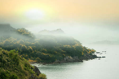 formosa: Misty mountains in the autumn season  and sunset