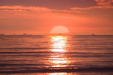 Extremely beautiful sunset on beach Stock Photo