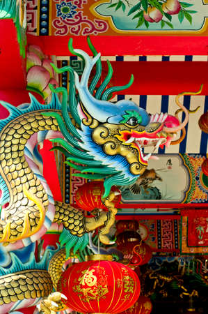 Chinese dragon statue in temple