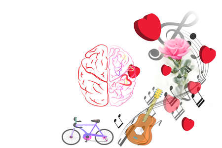 brain Thinking valentine day with red heart and pink rose