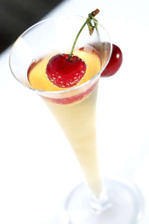 champagne and cherry Stock Photo