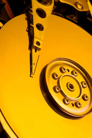 Hard Disk Closeup by yellow light