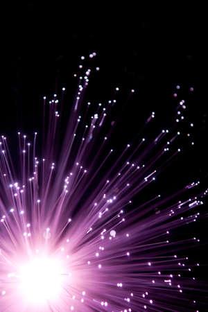 Purple fiber optic explode Stock Photo