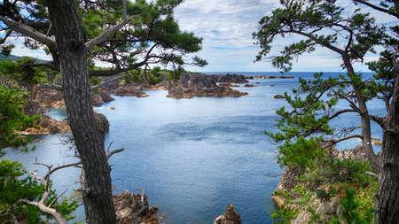 Sea view from hill at Sado island Japan Stock Photo