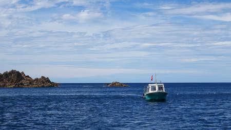 Boat in the sea Sado island Niigata Japan