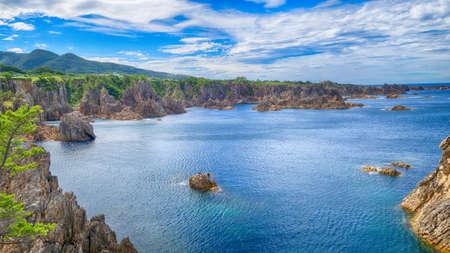 Sea view from hill at Sado island Niigata Japan Banco de Imagens