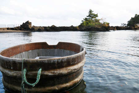 Tarai bune tub boat in Sado Island Niigata Japan Stock Photo