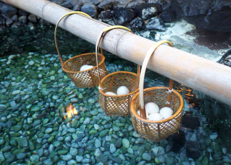 boiling: Boiling eggs in hotspring