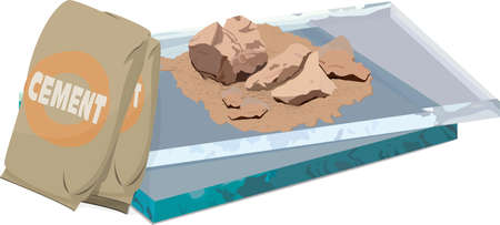 Vector illustration of a bag of cement, a small pile of crushed stone, and a couple panels of thick glass