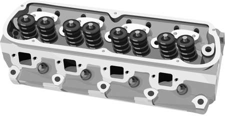 Vector illustration of the valve block of an internabl combustion engine