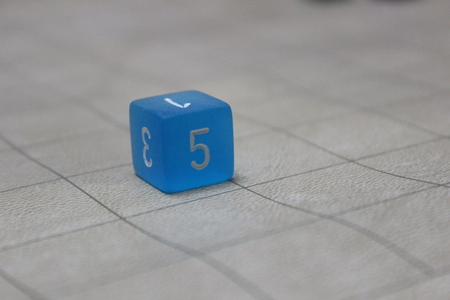 6-sided die on grid