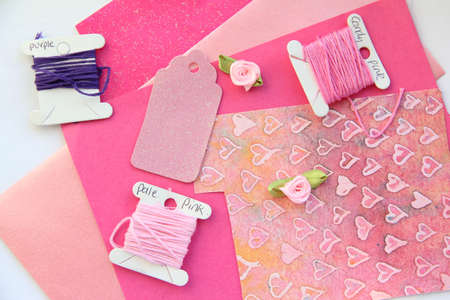 Pink Card Making Composition photo