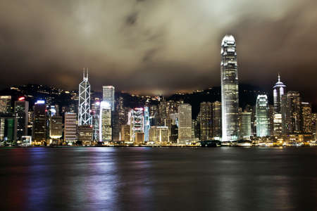 Hong Kong Island, Financial District at night shot from Kowloon at long exposure photo