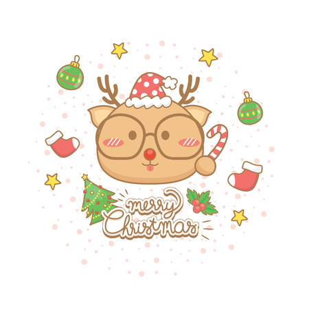 Merry Christmas celebration greeting card set. Cute reindeer characters hold candy, wear eye glasses with elements winter on white background.