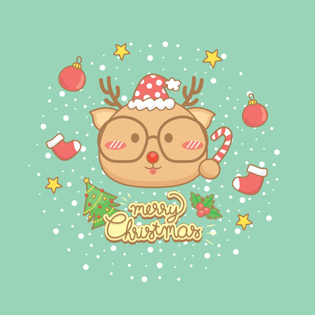 Merry Christmas celebration greeting card Set.Cute Reindeer characters hold candy, wear eye glasses with elements winter on green background