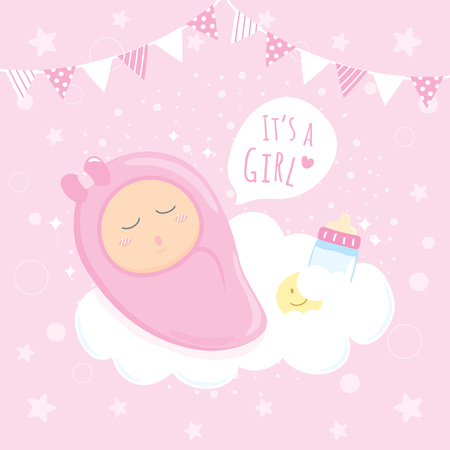 Baby girl shower sleeping on clouds happy birthday for new born baby girl shower sleeping on clouds happy birthday for new born celebration greeting and invitation m4hsunfo