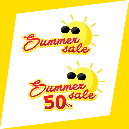 Summer Sale 50% icon, headline topic banner on yellow template background. Illustration