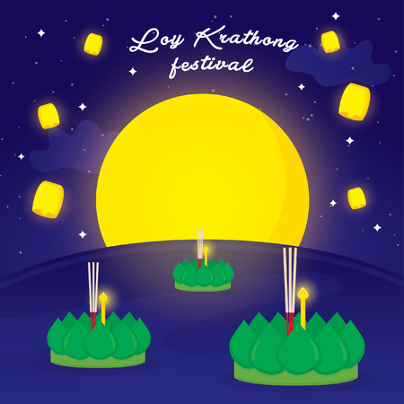 Loy Krathong Full Moon Festival, Bangkok Thailand  イラスト・ベクター素材