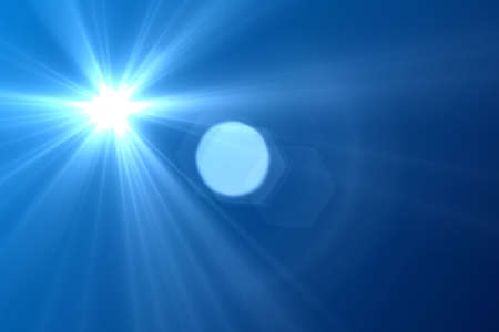 Sun burst and blue sky