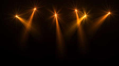 Stage lichten. Verschillende projectoren in het donker. spotlight slaan door de duisternis