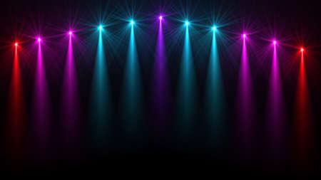 Stage Lights Several Projectors In The Dark Purple Spotlight Strike Through Darkness