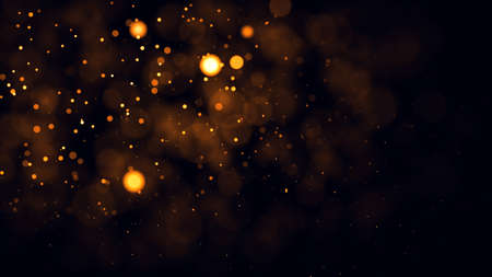 Gold abstract bokeh background. real backlit dust particles with real lens flare. Standard-Bild