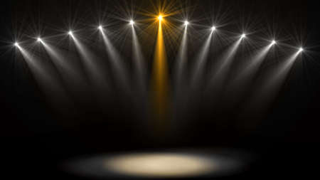 무대 조명. 어둠 속의 여러 프로젝터. 어둠을 통해 퍼플 스포트라이트 스트라이크