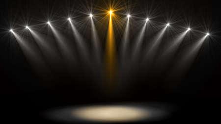 Stage lights. Several projectors in the dark. Purple spotlight strike through the darkness Reklamní fotografie - 83627715
