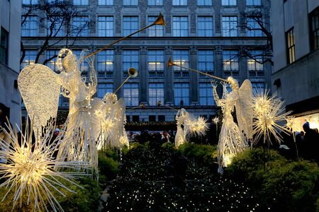Angels at Rockefeller center and Saks Fifth Avenue.