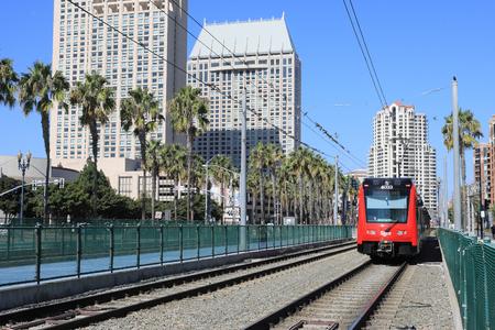 San Diego train near Santa Fe station