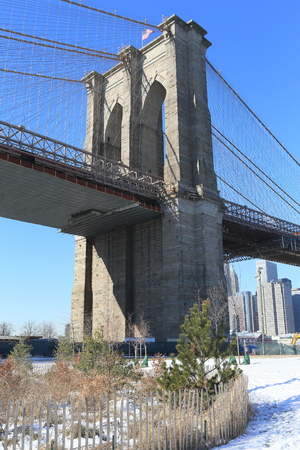 Brooklyn bridge after snow storm