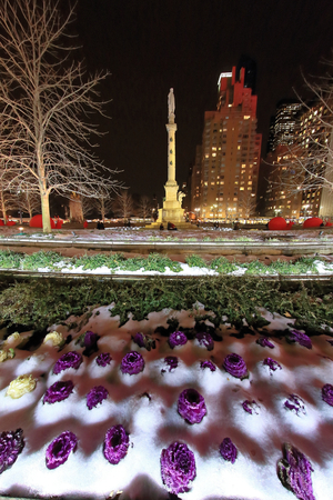 Columbus Circle, Winter Scenery in New York, Central Park Stock Photo