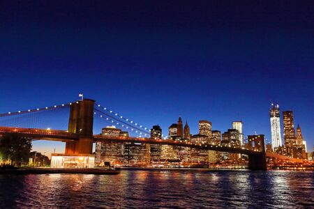 Brooklyn Bridge in the evening Stock Photo