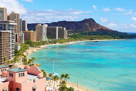 Hawaii with Diamond Head, Waikiki Resort Foto de archivo
