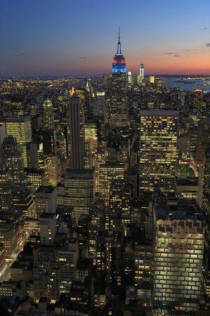 Manhattan nightscape Stock Photo