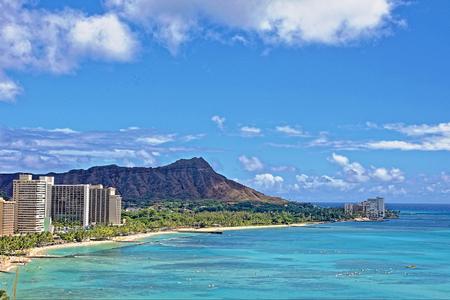 Hawaii with Diamond Head, Waikiki Resort Stock Photo