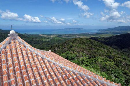 沖縄県石垣島バンナのような山の上の展望台からの風景します。 写真素材