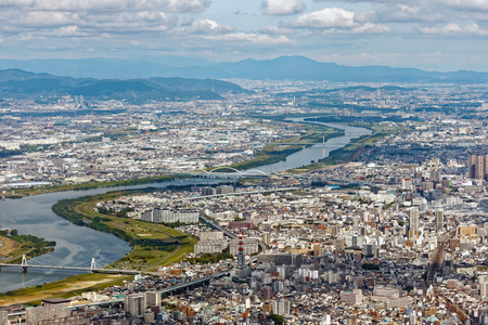 Aerial view of the city of Osaka, Japan Stok Fotoğraf