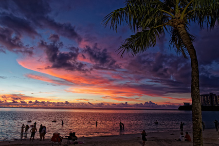 Sunset time at Tamun Beach, Guim island Stock Photo