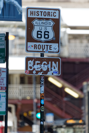 Start sign of Route 66 in CHICAGO