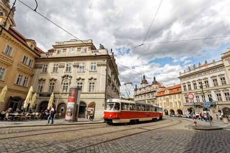 Tram is main transportation around Prague castle. This photo is near Malostransk . Editorial