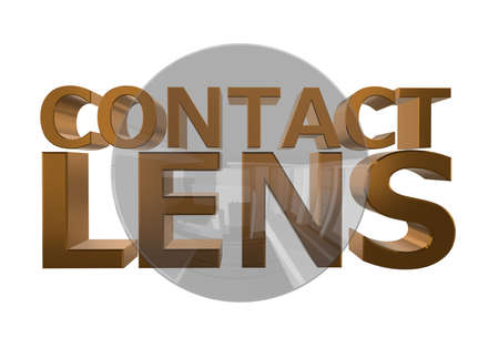 Contact lens on the background of the inscription.3D illustration. Isolated on white background