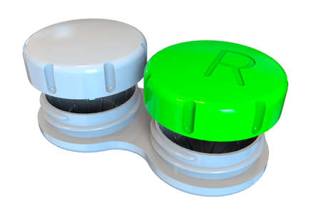 Contact lens case. 3D rendering. Isolated on white background. 版權商用圖片
