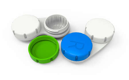 Contact lens cases. 3D rendering. Isolated on white background.