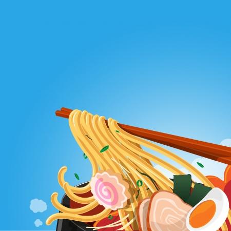 ramen: ramen and noodle - vector illustration