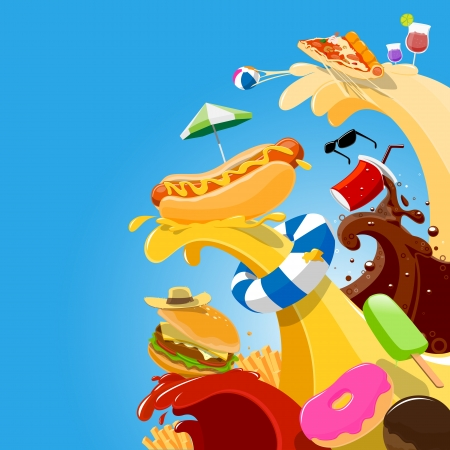 food party for funny artwork- vector illustration  イラスト・ベクター素材