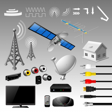 digital television: Broadcast set - vector illustration