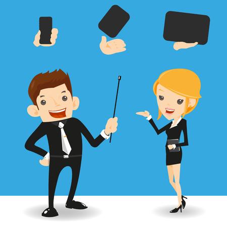 businessman  presentation - vector Illustration