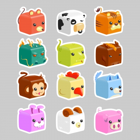 cubic: Cute icons or chines zodiac  - vector Illustration
